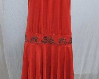 Vintage 1979s dress, strapless, dropwaist, persimmon orange red
