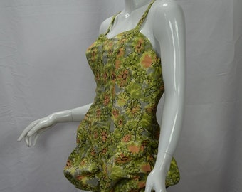 1950s Rose Marie Reid Iconic Hourglass Maillot Atomic Floral Swimsuit