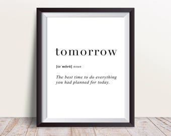 Tomorrow Definition Print, Wall Art Prints, Wall Decor, Minimalist Poster, Minimalist Print, Modern Art, Tomorrow Print, Definition