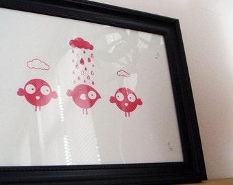 Nursery art screenprint WHEN IT RAINS  (pink ink)