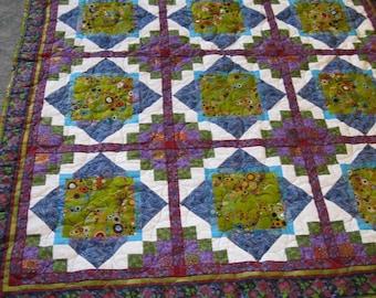Large Lap Quilt, Kuwinda Pattern, Green, Blue, Purple