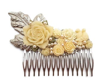 Cream Wedding Comb-Bridesmaid Comb-Floral Comb-Pearl Comb-Flower Hair Comb-Bobby Pins-Hair Slides-Bridal Hair Clip-Rose Hair Accessory-Bird