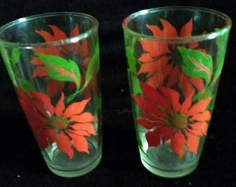 2 Vintage Swanky Swigs Poinsettia Drinking Glasses Tumblers