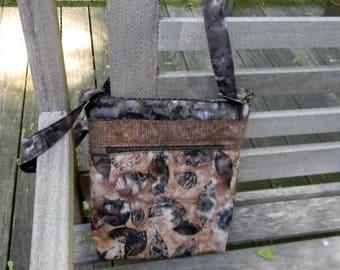 Brown Leaf Batik Zipper Purse with six pockets