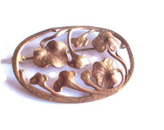 Art Nouveau Brooch Gingko Leaves Gilded Brass 1890s