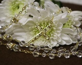 Wedding rosary, Catholic rosary, Catholic crystal rosary, Rosary for wedding, First communion rosary, Swarovski rosary, Rosary Gold