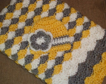 Sunshine Yellow Gift Set: Sunshine Yellow, Gray & White Shell Stripe Baby Blanket and Matching Hat