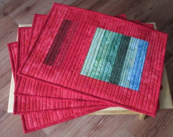 Batik Place Mats in Reds, Blues and Greens, Two