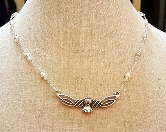 """Celtic Labryrinth Owl Necklace Handmade Chain """"It's Only Forever"""""""