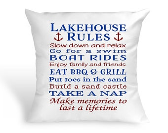 Lakehouse Ruels Pillow - Cabin, Lakehouse Decor, Housewarming,  Mother's Day, Father's Day, Grandparent's Gift, Camping