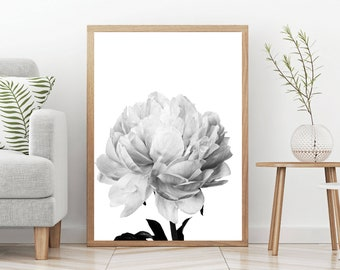 peony wall art, flower print, black and white photography, minimal decor, Nordic home, nature printable art, large poster, digital download