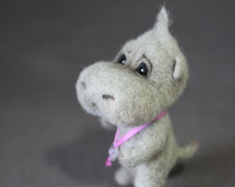 Needle Felted Grey Hippopotamus - Soft Sculpture