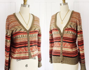 Vintage 1970's Space Dyed Summer Cardigan w/ Southwest Colors