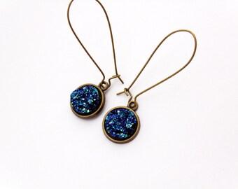 Teal Druzy Earrings, Raw earrings, Raw druzy earrings, teal dangle earrings, Druzy Dangle Earrings, Druzy Drop Earrings, faux druzy earrings