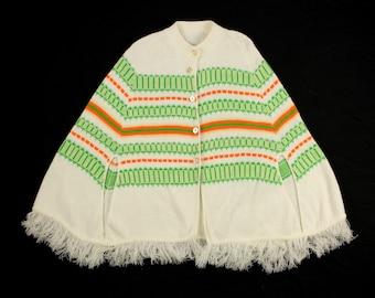 1970s Knit Poncho Sweater by Chris Ann - Vintage Orlon Acrylic Crochet Cape