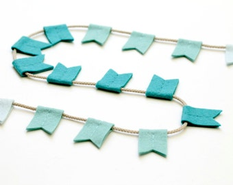 Turquoise Flag Bunting Ombre. Modern Felt Accent Banner. Color Fade Wall Hanging Playroom Nursery Decor. Notched Flag Garland