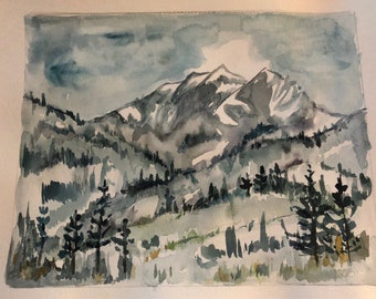 Colorado mountain watercolor original art