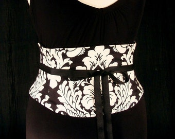 Corset Belt / Ivory and Black Damask Waist Cincher / Wedding Sash / Bridesmaid Belt / Plus Size Corset / Steel Boned / Underbust Obi Belt