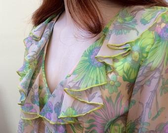 Romantic 1970s green ruffled maxi dress UK 14