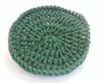 Hunter Green Crocheted Nylon Netting Dish Scrubbie-Large