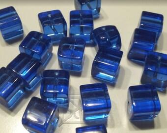 Lot 9 glass beads square 9mm transparent blue
