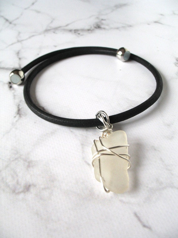 Elegant Pendant Necklace in Black Mokuba Cord with Silver Plated Wire Wrapped Off White Beach Glass and Magnetic Ball Clasp