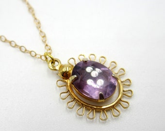 Vintage gold filled chain & amethyst pendant