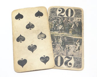 Two 1800's German Antique Playing Cards, C. L. Wust FERT NM,  8 of Spades, and 20, Shultz Marke