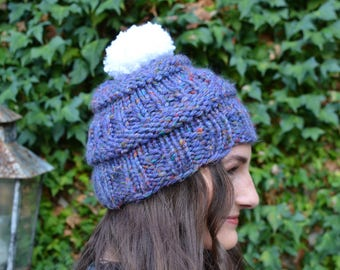 Purple Beanie With White Ball
