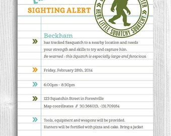 Sasquatch Hunters Printable Invitation - Bigfoot, Yeti, Monster