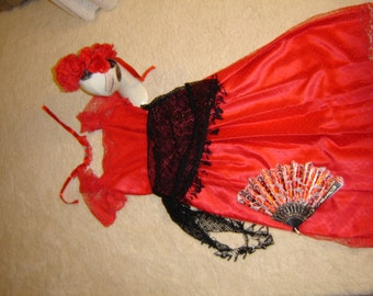 Day of the Dead Goth steampunk red lace dress women sz 10 Halloween Costume Dia de los Muretos
