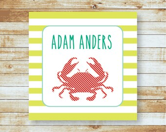 Personalized Calling Cards / Gift Tags /  Kids / Crab