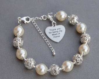 Thank you for being my Maid of Honor, Maid of Honor Bracelet, Wedding Party Gift, Thank You Jewelry, MOH bracelet