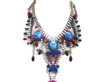 HIGHLY STRUNG white, marsala, teal, scuba blue, purple and mustard hand painted rhinestone statement bib necklace