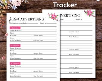Facebook Advertising Planner, Facebook Advertising Tracker, Advertising Planner, Social Media Planner, Marketing Plan, A4 A5 Letter Size