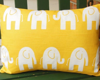 Yellow Elephant Nursery Decorative Throw Pillow Lumbar Cushion Cover Childrens Bed Pillow One or More Choose Size Yellow White Cushions