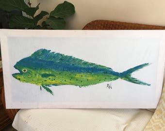 Handmade Mahi Fishprint Canvas