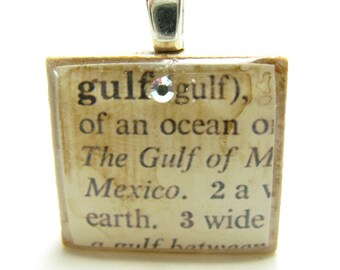 Gulf - vintage dictionary Scrabble tile with Swarovski crystal