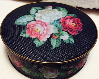 Vintage Large Sunshine Biscuit ROSE Tin Container with Embossing Made by Guildcraft Tan