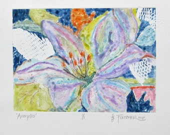 Flower Print Lavender Amaryllis Monoprint Colorful Watercolor Abstract Hand Pulled with Textured OOAK