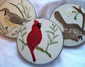 Hoop Art, Embroidery Hoop Art, Birds, Cardinal, Mockingbird, Meadowlark, Embroidery Wall Art, Red Bird, Yellow Chested Bird, Brown Bird,