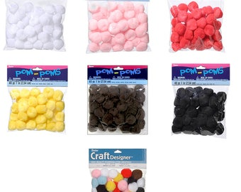 Acrylic Pom Poms - 1 inch - 40 pieces per package - 7 colors 10177 fnt