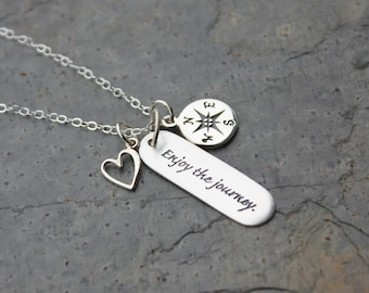 Enjoy the Journey Sterling Silver Charm Cluster Necklace- inspirational word phrase, compass, heart - Buddhism, Yoga- free shipping USA