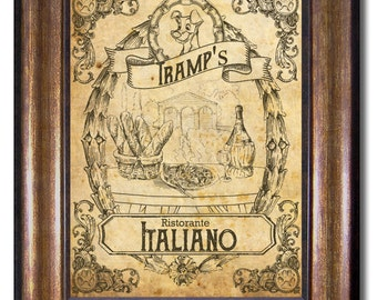 Tramp's Ristorante Italiano - Lady and the Tramp Vintage Style Poster - Multiple Sizes 5x7, 8x10, 11x14, 16x20, 18x24, 20x24, 24x36