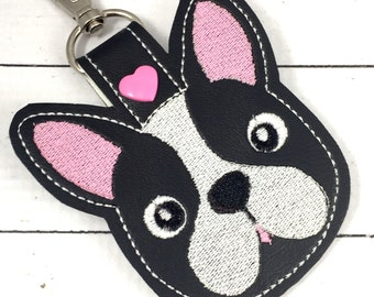 Puppy tag - novelty leyfob - boston terrier puppy keyring keychain -best gifts for her- gifts under 10