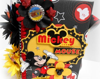 Elite4u Disneyworld Disneyland Disney Mickey Mouse Handmade Memory Premade Page Handmade Photo SCRAPBOOK ALBUM