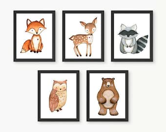 Woodland Nursery Wall Art, Woodland Animal Prints, Nursery Room Art, Forest Animals, Forest Nursery, Woodland Nursery Decor, Size 5x7, Set 5