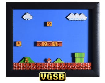 Super Mario Bros Shadow Box - 1-1 - NES - Nintendo - 3D Shadow Box Glass Frame - 12x10 - Christmas Gift - Mario Bros Art