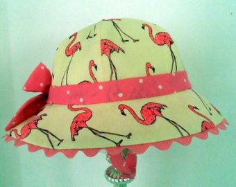 Sun hat, Pink Flamingo Sun hat, baby hat, childrens sun hat, Handmade