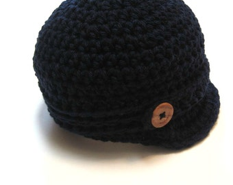 Navy Blue Newsboy hat.  Infant sizes.  MADE TO ORDER.  Great photography prop or baby shower gift.